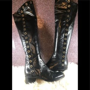 Le pepé nappa black knee high boots